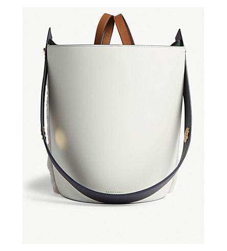 8dd5fabf121ab Danse Lente White And Marine Blue Mini Lorna Small Leather Bucket Bag In  White-Marine