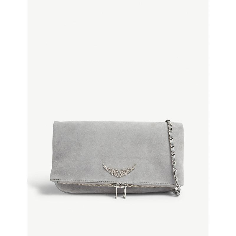 buy good moderate cost large assortment Light Grey Rock Suede Clutch Bag in Gris