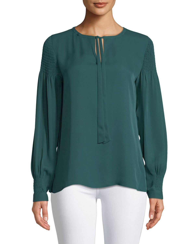 9fece3dcc4110 Kobi Halperin Julee Tie-Neck Long-Sleeve Silk Blouse W  Smocking Details In