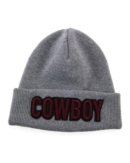 2dcebe1c3 Men's Cowboy Patch Wool Beanie Hat in Gray