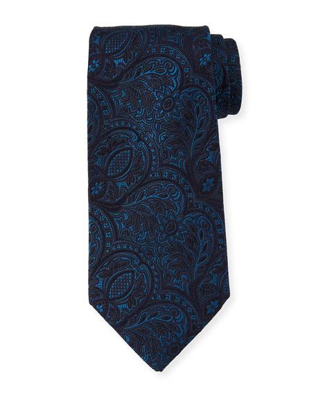 Ermenegildo Zegna Tonal Paisley Silk Tie, Blue