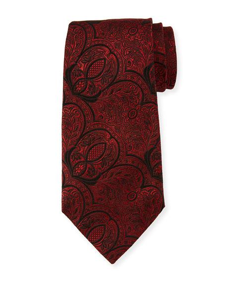 Ermenegildo Zegna Tonal Paisley Silk Tie, Red