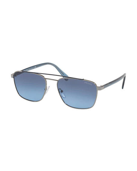 Prada Men's Square Metal Aviator Sunglasses - Gradient Lenses In Blue/Silver