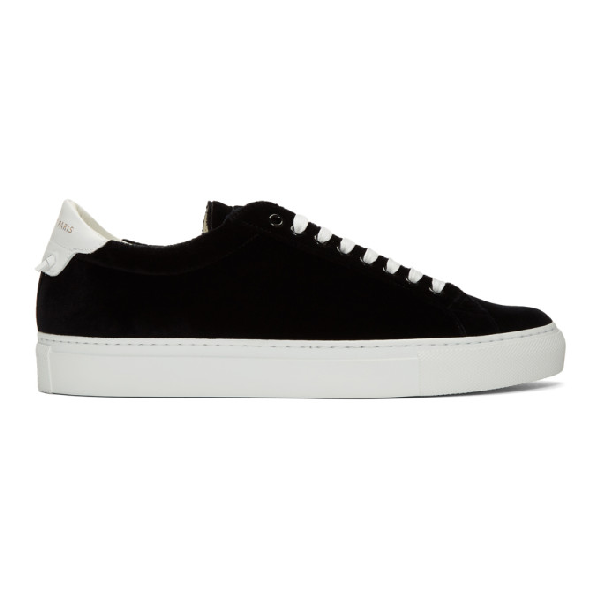Givenchy Men's Urban Street Velvet Low-Top Sneaker In 001 Black