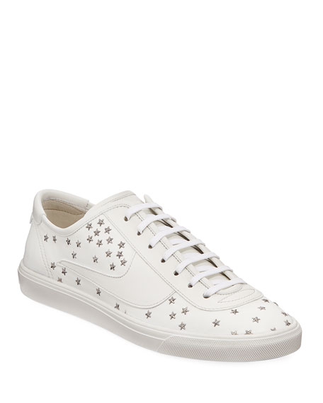 56c4b45ca7d Saint Laurent Men's Andy Star-Stitched Low-Top Sneakers In White ...