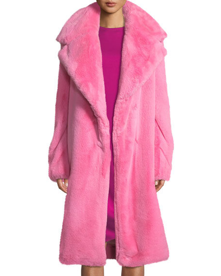 5e4f40ceb5dc Milly Riley Long Faux Fur Coat In Bubblegum   ModeSens