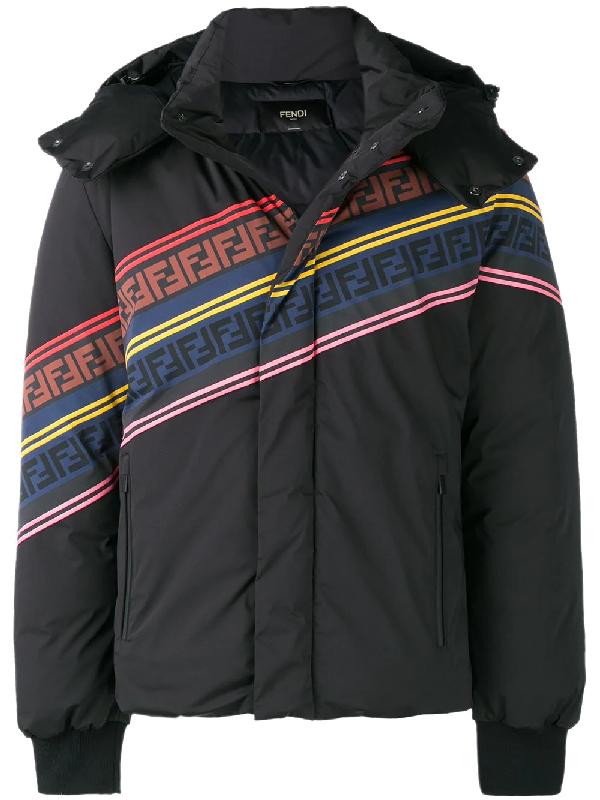 Fendi Men's Multicolor Retro Diagonal Stripe Ski Jacket In Black