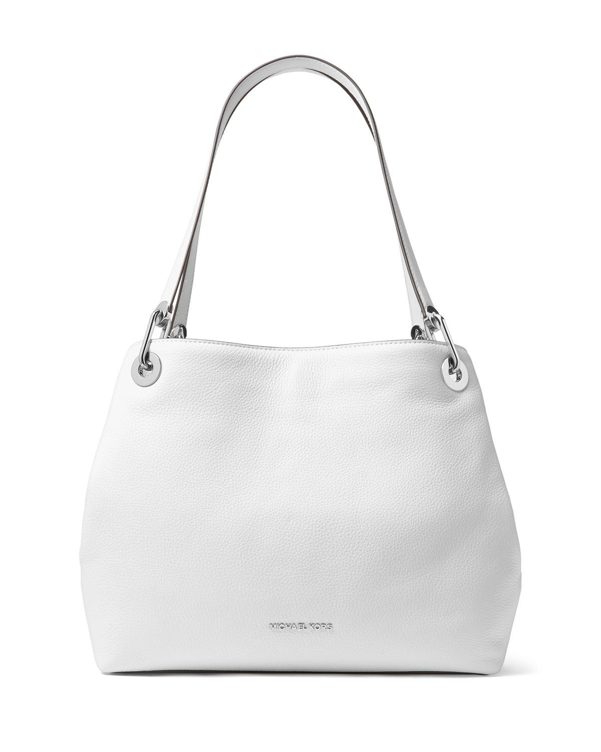 9cb64a13468c Michael Michael Kors Raven Large Pebbled Leather Shoulder Tote In Optic  White/Silver