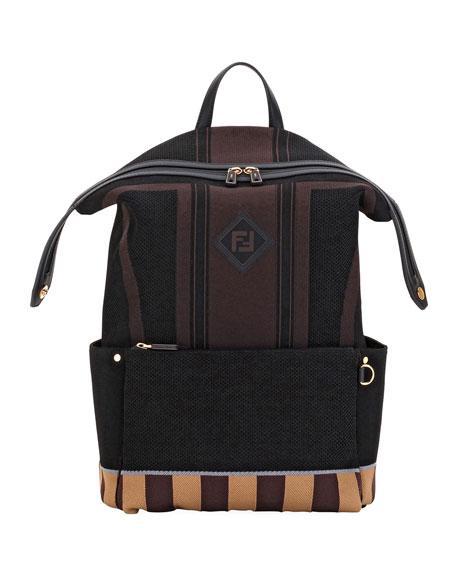 bbcef7ea3768 FENDI Men s Forever Fendi Knit Backpack in Black. Fendi Men