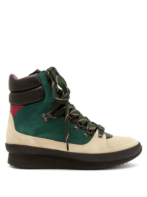 Isabel Marant Brendta Leather And Suede Boots In Green