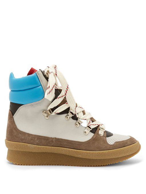 Isabel Marant Brendta Leather And Suede Boots In Multicoloured Woven Laces