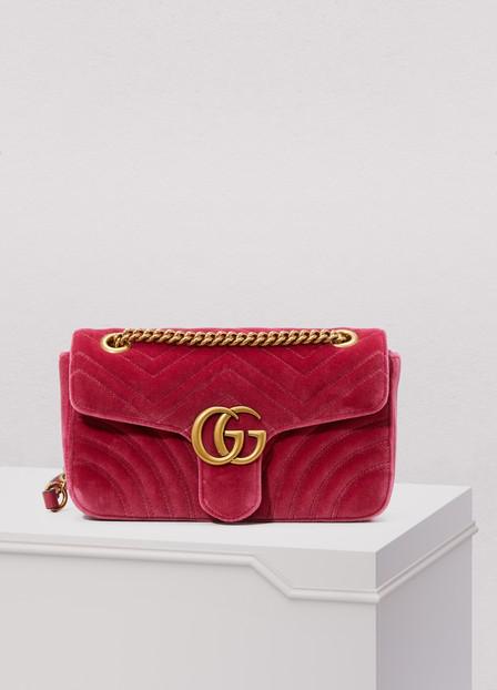 Gucci Gg Marmont Velvet Shoulder Bag In Pink