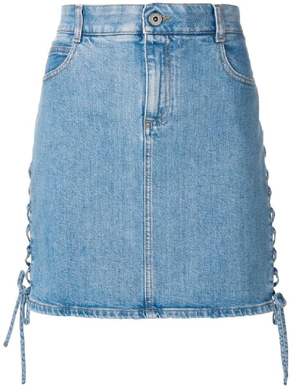 513d19c030 Stella Mccartney Side Lace-Up A-Line Mini Denim Skirt In Blue | ModeSens