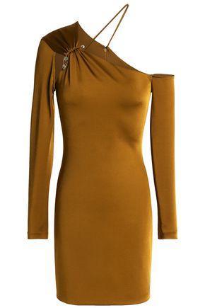 Cushnie Et Ochs Cushnie Woman Asymmetric Embellished Satin-jersey Mini Dress Copper