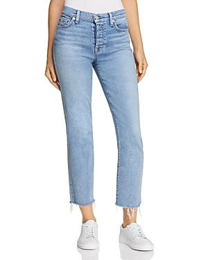 7 For All Mankind Edie Cutoff Straight Jeans In Flora