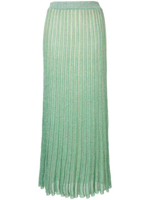 Missoni Pleated Metallic Ribbed-Knit Maxi Skirt In L6031