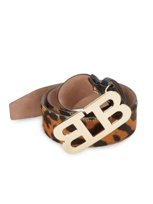 Bally Mirror B Leather Belt In Black Brown