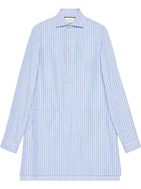Gucci Cotton Oversize Shirt With Pockets In Blue