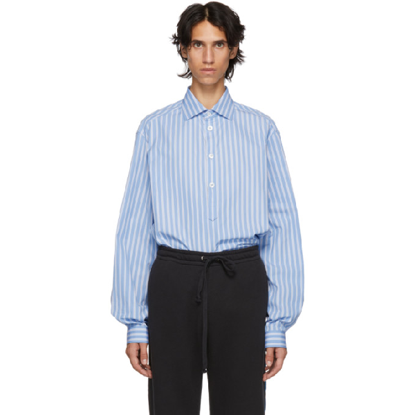 Gucci Cotton Oversize Shirt With Pockets In 4421 Azure
