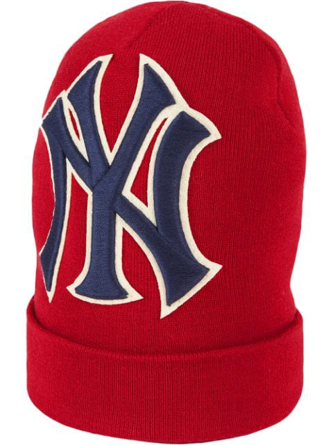 e6cb589bd4ce7 Gucci Men s New York Yankees Mlb Patch Beanie Hat In 6500 Rosso ...