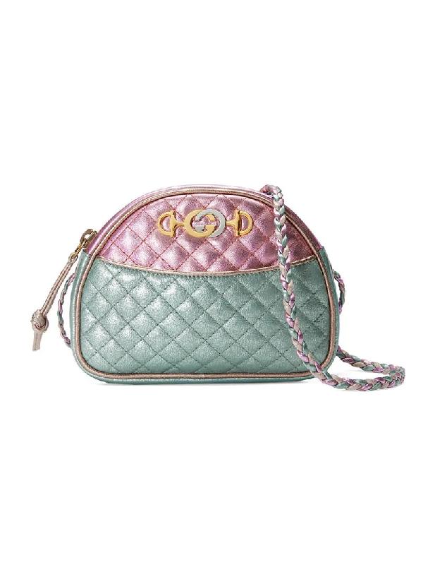 ed0ed7e72c67ea Gucci Trapuntata Mini Quilted Metallic Leather Crossbody Bag, Pink ...