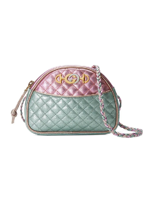 9204541b1a2 Gucci Trapuntata Mini Quilted Metallic Leather Crossbody Bag In Pink ...