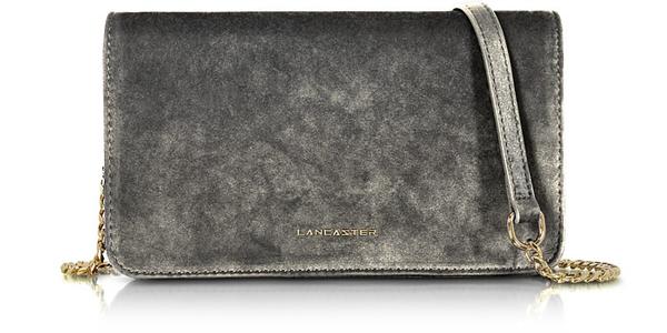 Lancaster Velvet Flap Clutch W/strap In Silver