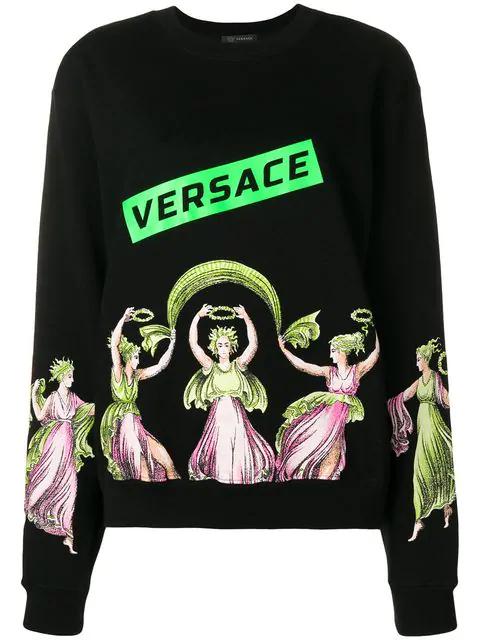 Versace Cupid And Psyche Sweatshirt In Black