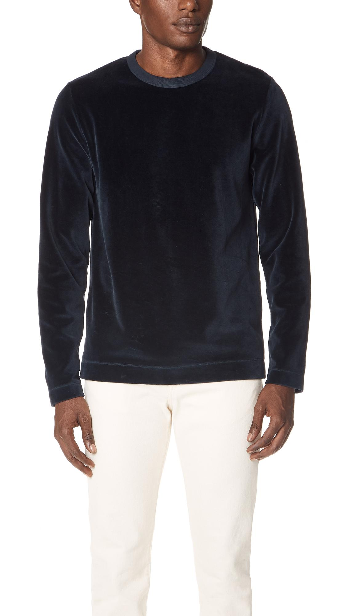 Our Legacy Velour Long-sleeved T-shirt In Navy