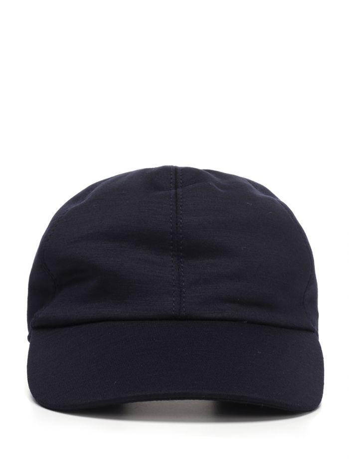 1fc08786d Ermenegildo Zegna Blue Cashmere Baseball Cap With Rear Elastic Band ...