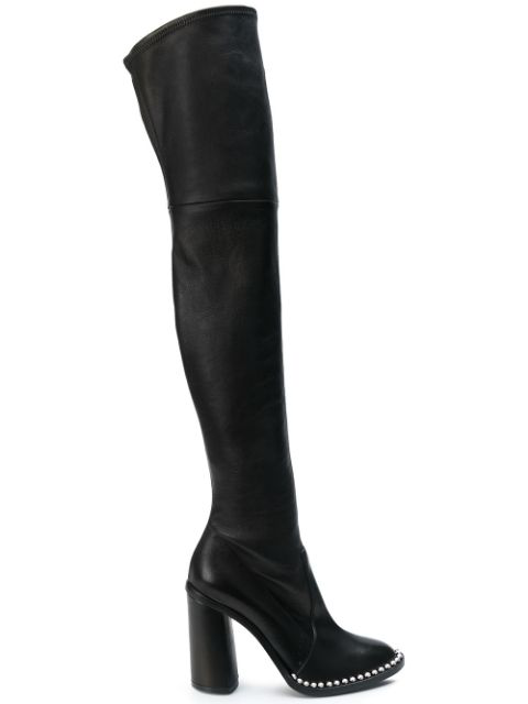 Casadei Studded Sole Over-The-Knee Boots - Black