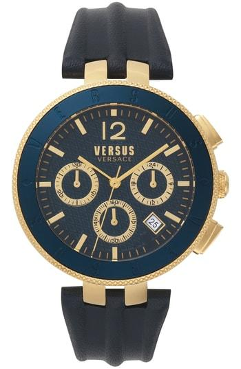 Versace Blue Logo Chronograph, 44Mm In Blue/ Gold