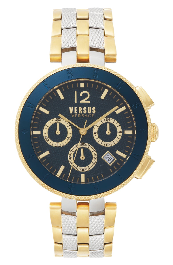 Versace Versus Men's Logo Gent Chrono Two Tone Gold Strap Watch 44Mm In Blue