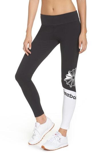Reebok Starcrest Logo Leggings In Black