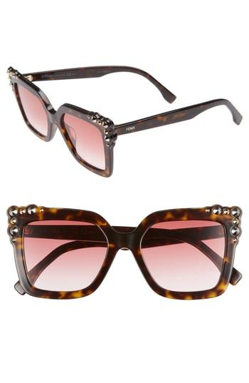 2ae8873e9f6 Fendi 52Mm Gradient Cat Eye Sunglasses - Dark Havana