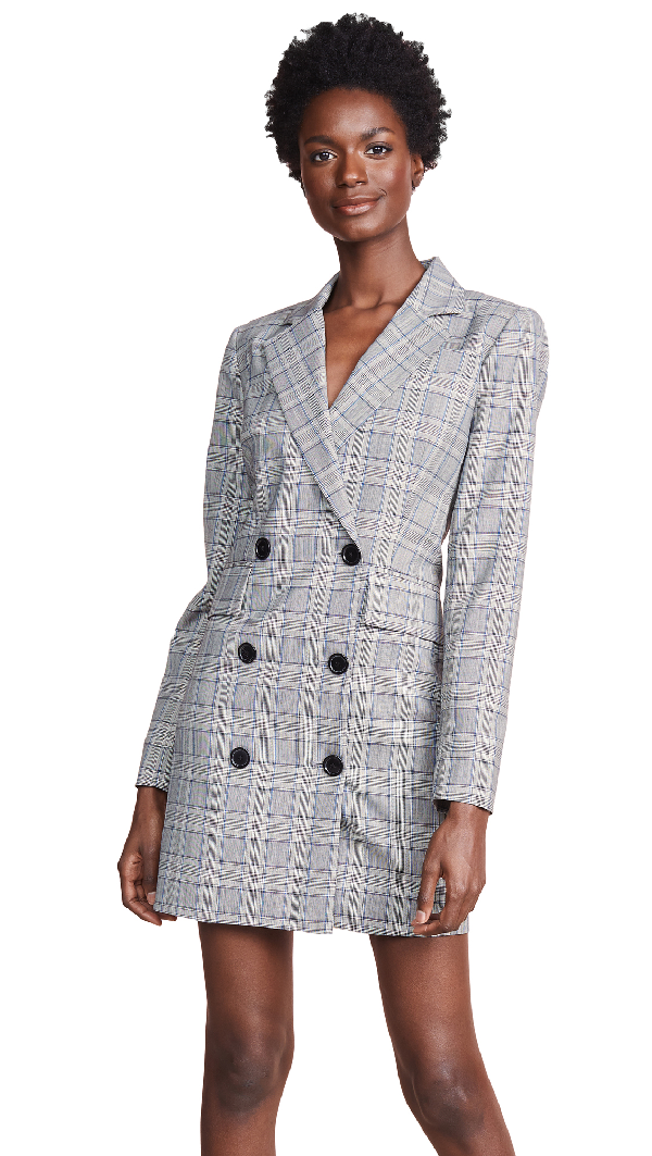 Milly Cotton Suiting Blazer Dress In Check