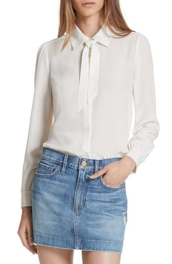 b7d67c459e1443 Frame Pussy-Bow Washed-Silk Blouse In White | ModeSens
