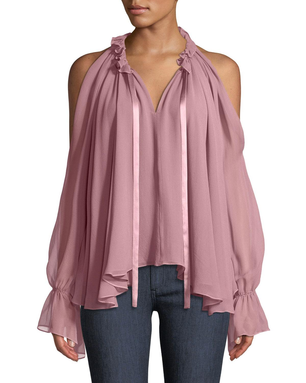 64a42b589f39b0 Ramy Brook Blaine Cold-Shoulder Silk Ruffle Blouse In Light Pink ...