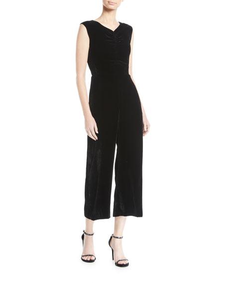 Rebecca Taylor Ruched Velvet Wide-Leg Jumpsuit In Black