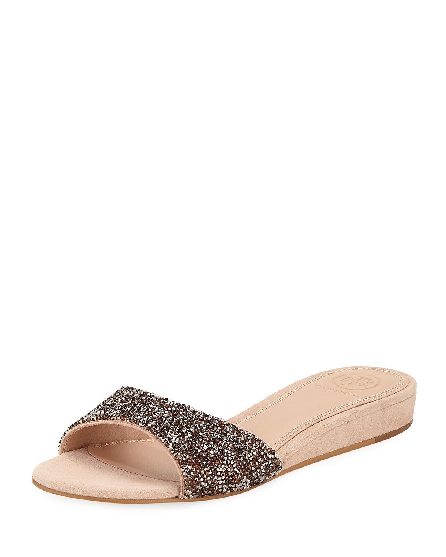 5eec17f4d4272f Tory Burch Elodie Glitter Wedge Sandals In Rose Goan Sand