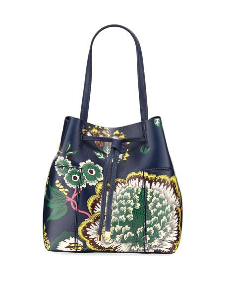 3c087bd443fc Tory Burch Block T Printed Small Bucket Bag In Navy Happy Times ...