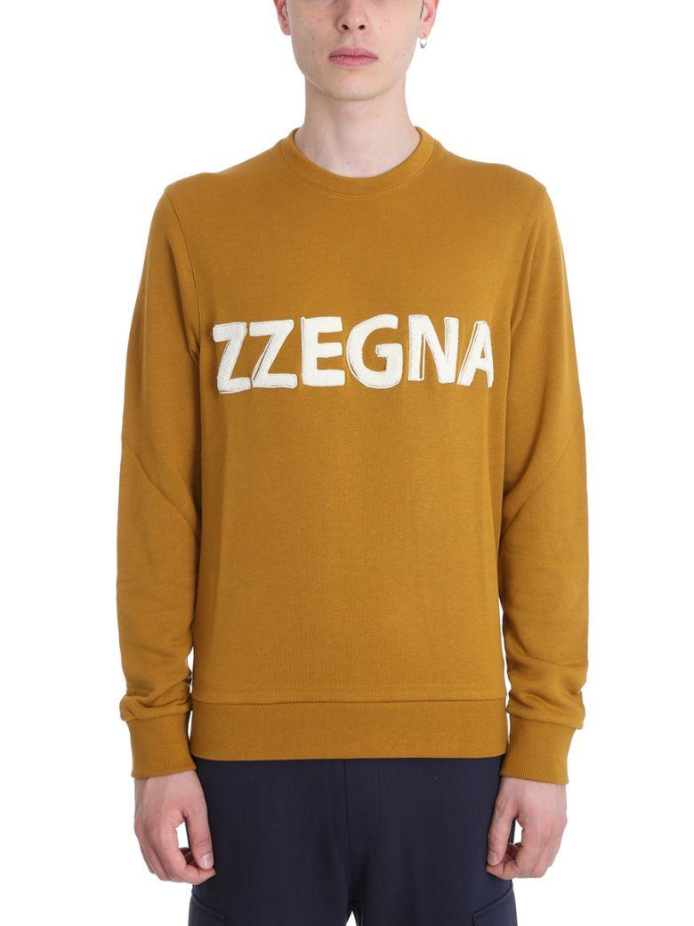 Z Zegna Camel Cotton Sweatshirt In Leather Color