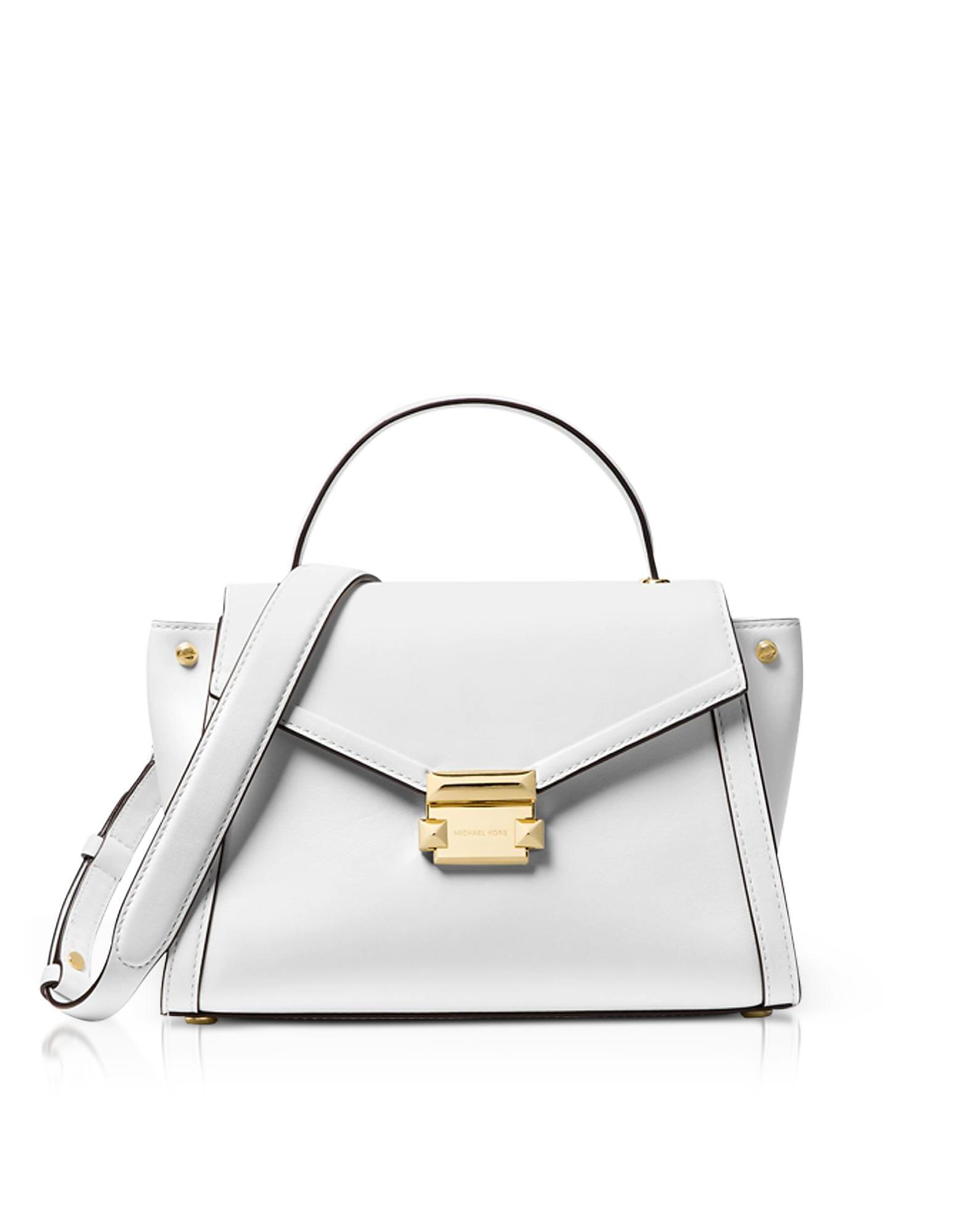7908e30303cf Michael Kors Whitney Medium Leather Satchel In Optic White | ModeSens