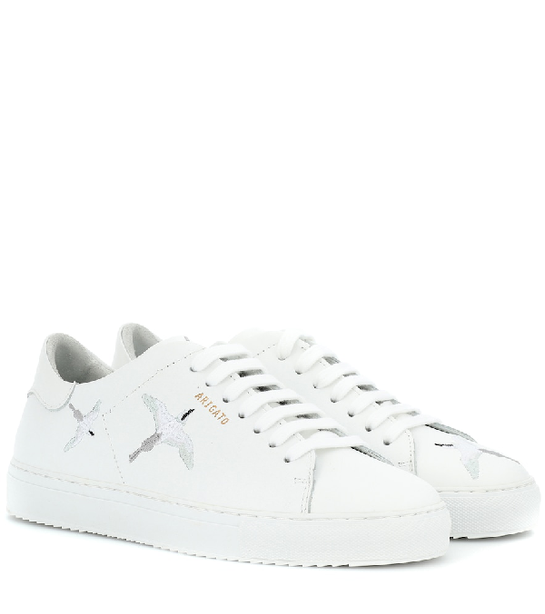 Axel Arigato Clean 90 Bird-embroidered Leather Sneakers In White