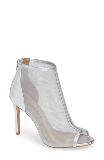Charles David Women's Court Mesh & Leather Open Toe High-Heel Booties In Silver