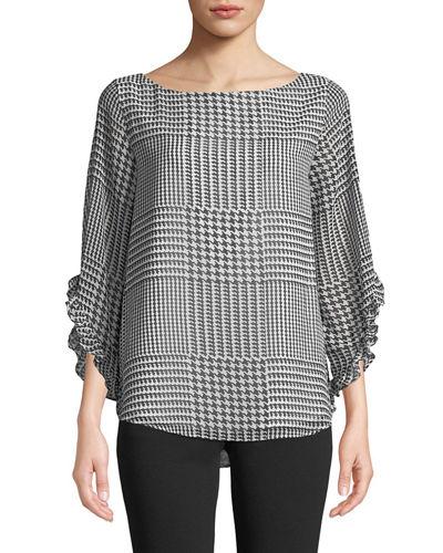 310127d1392eb4 Calvin Klein Printed Chiffon Ruffle-Sleeve Blouse In Black/White ...