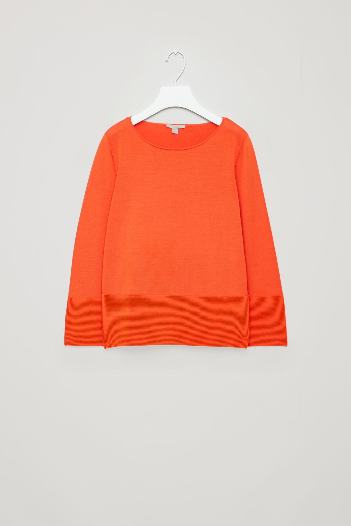Cos Ripple-Stitch Knitted Top In Orange