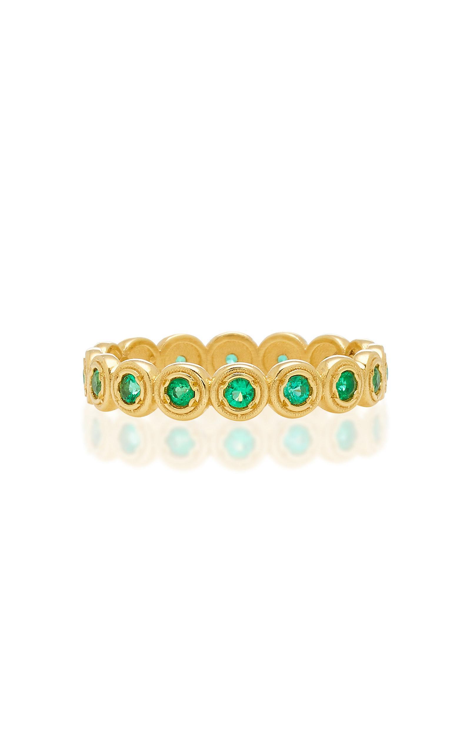 fbdcf3e81 Octavia Elizabeth Nesting Gem Emerald And 18K Gold Eternity Ring In Green