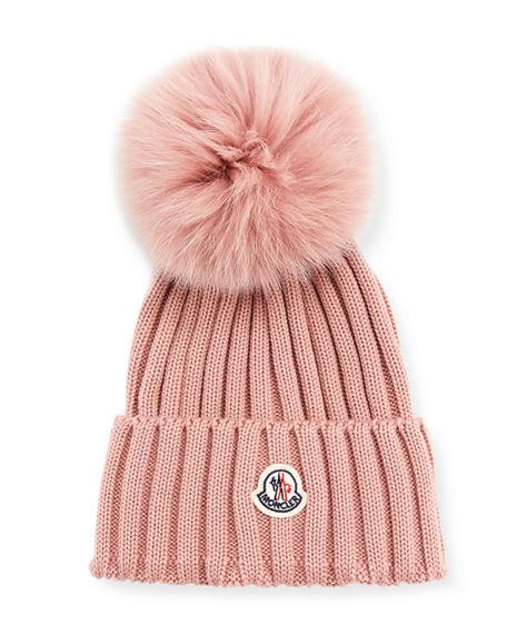 c4403d11b9a Moncler Ribbed-Knit Beanie Hat W Fur Pompom In Pink