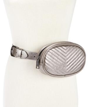 9c5f702aa43f Steve Madden Chevron Quilted Metallic Faux Leather Belt Bag - Metallic In  Pewter/Gunmetal